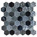 GLASS MOSAIC HEXAGON 30.5X30
